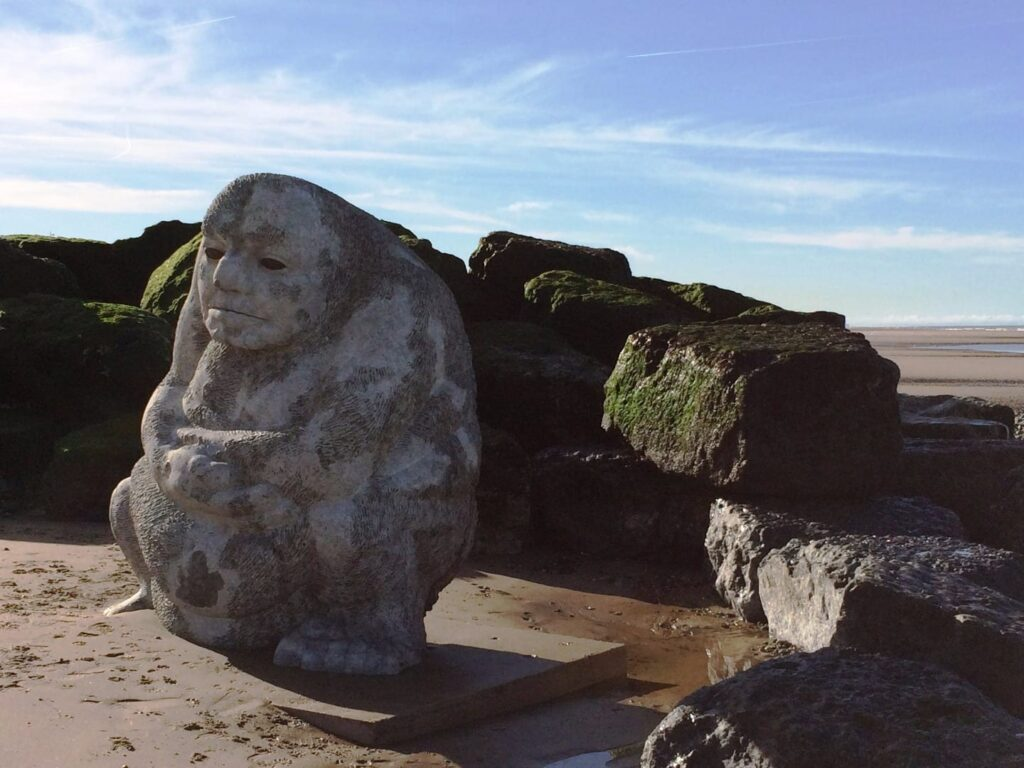 The stone Ogre on Cleveleys beach