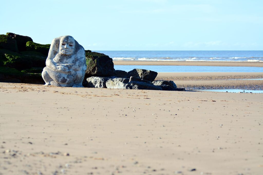 Stone Ogre on Cleveleys beach when he's been cleaned