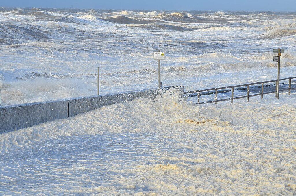Deep foam at Rossall Promenade, Cleveleys