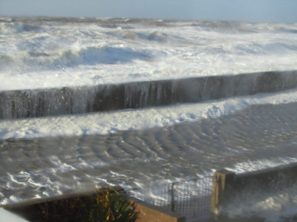 Rossall Promenade turned into a river during the storm of December 2013
