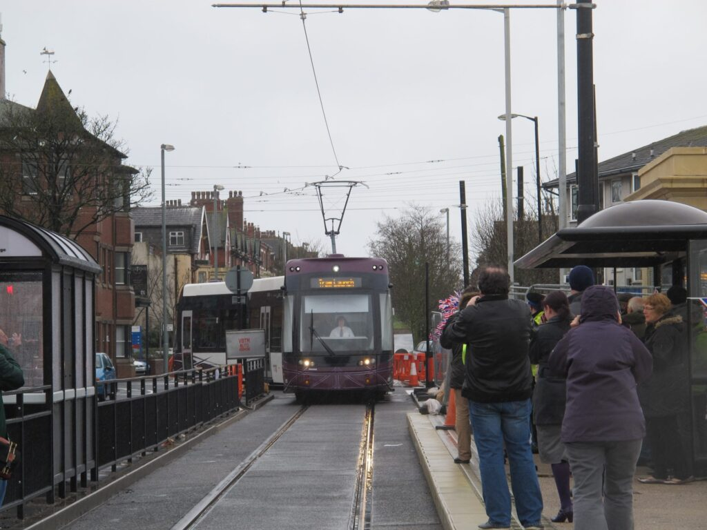 Tram launch at Cleveleys moves onto Fleetwood