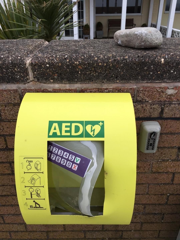Vandalised defibrillator on Rossall Promenade