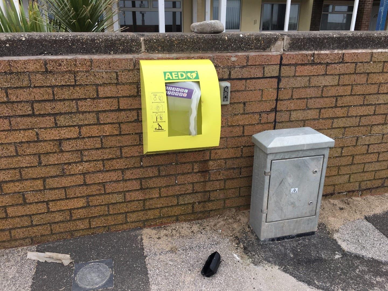 Vandalised community defibrillator
