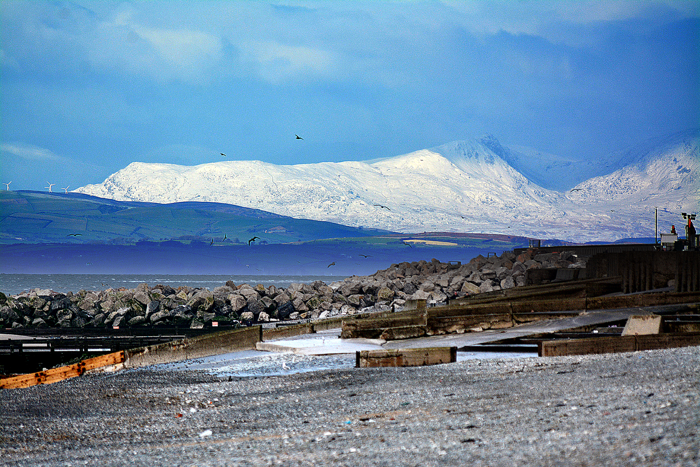 View of Lakes in the snow from Cleveleys