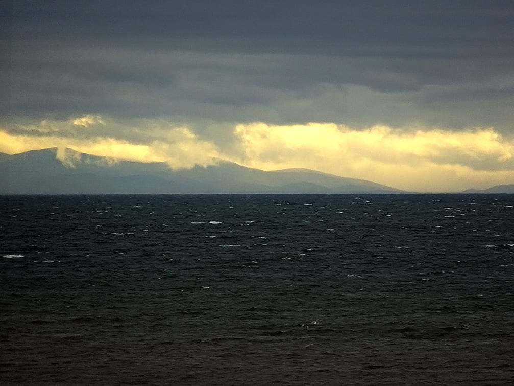 View of Wales, Snowdonia and Anglesey, seen from Cleveleys beach