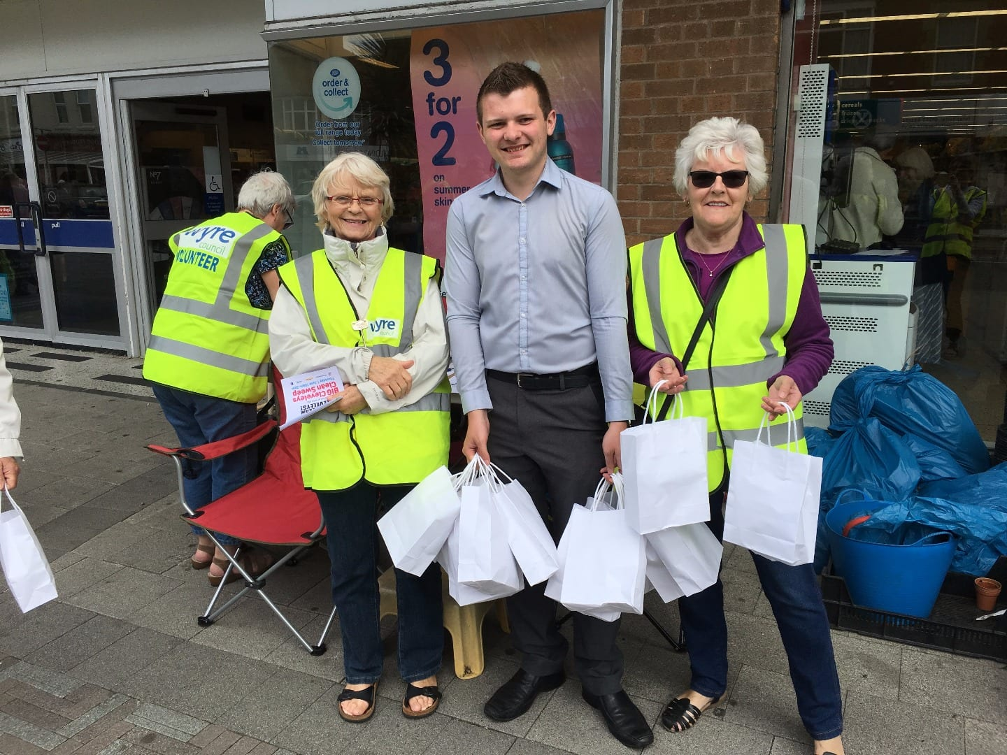 Volunteers handing out information and surveys along with Tom Walsh delivering lunch from The Venue. Cleveleys Coastal Community Team updates