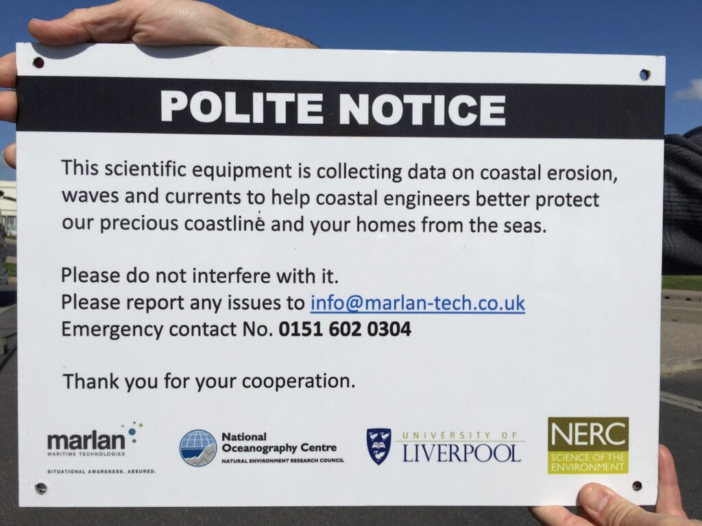 Notice on the fence at the temporary radar station - News from Cleveleys Coast Watchers