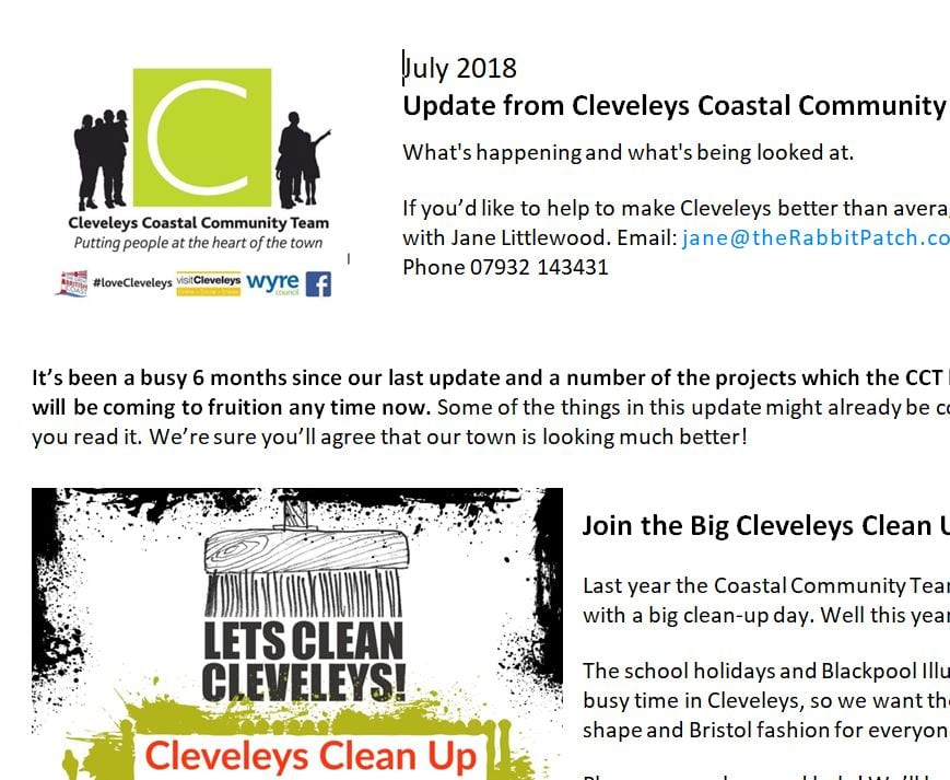 Cleveleys Coastal Community Team Updates, July 2018