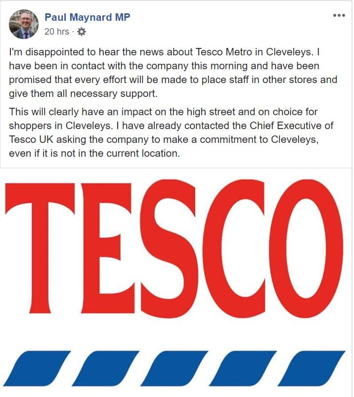 Paul Maynard MP comment on the Closure of Cleveleys Tesco