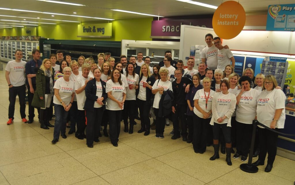 Staff on the last day, closure of Cleveleys Tesco