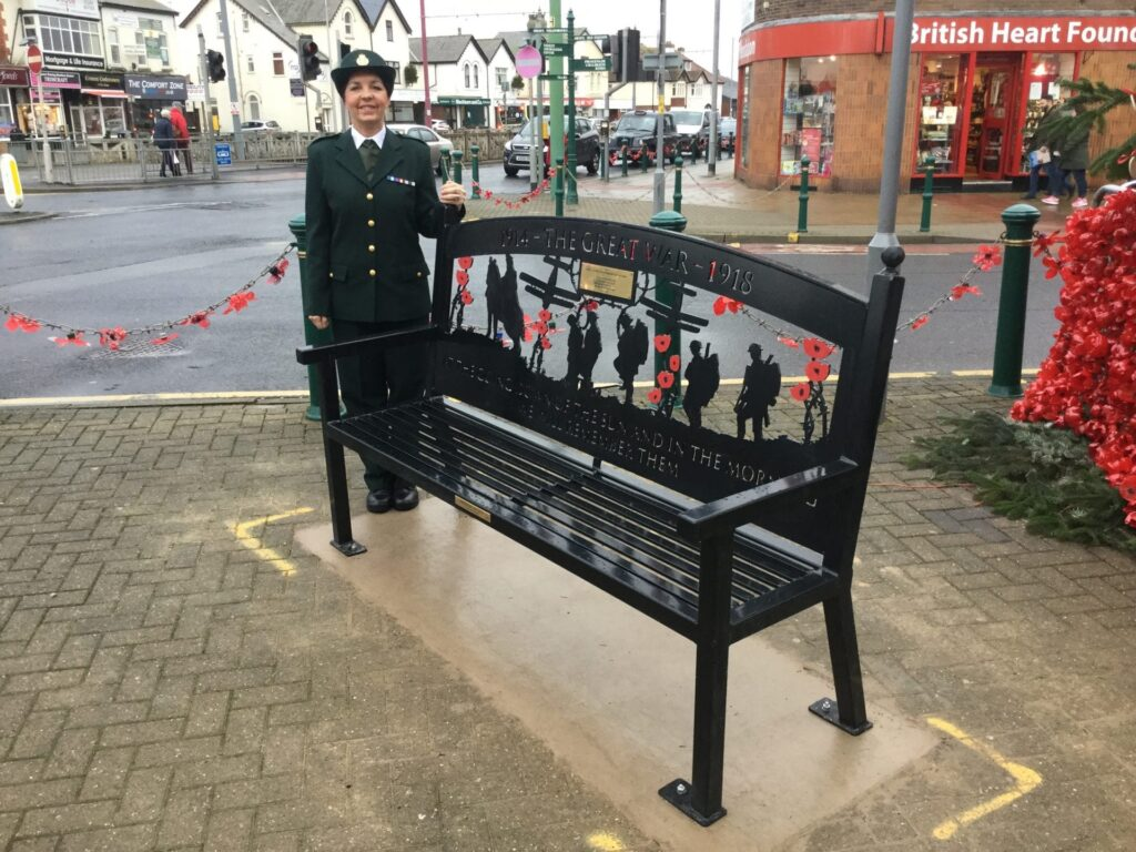 Sharon Riley-Clarke with one of her Town Centre Memorial Benches
