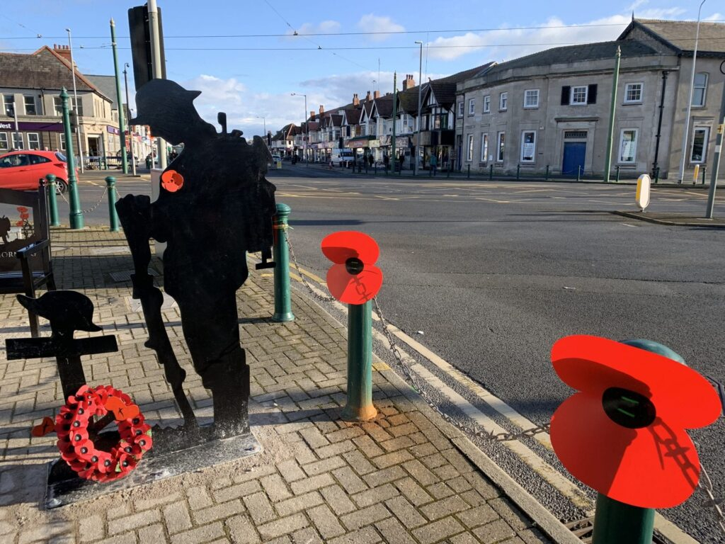 Soldier silhouette at Remembrance corner in Cleveleys