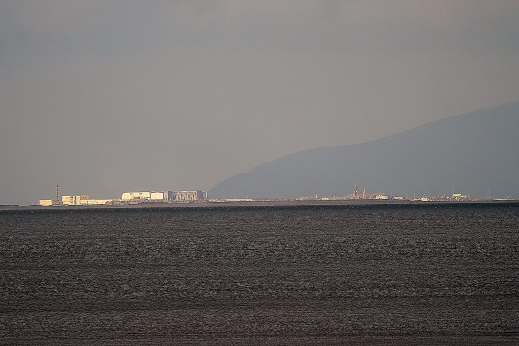 Shipyards at Barrow, see them on the far left of the landmass from Cleveleys seafront