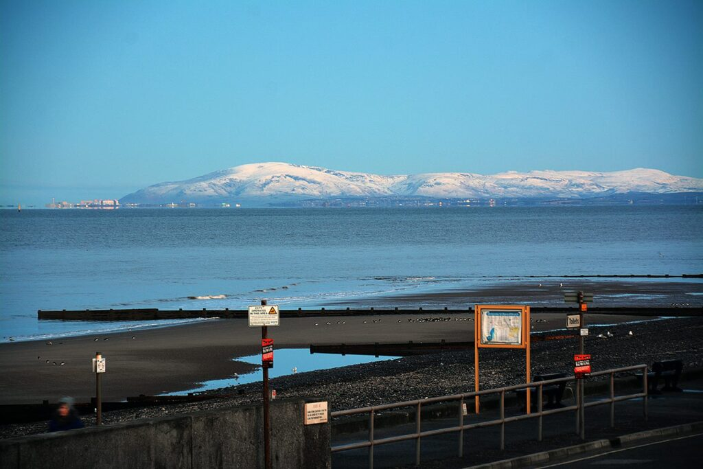 Barrow and the Lakes, seen from Rossall Beach at Cleveleys