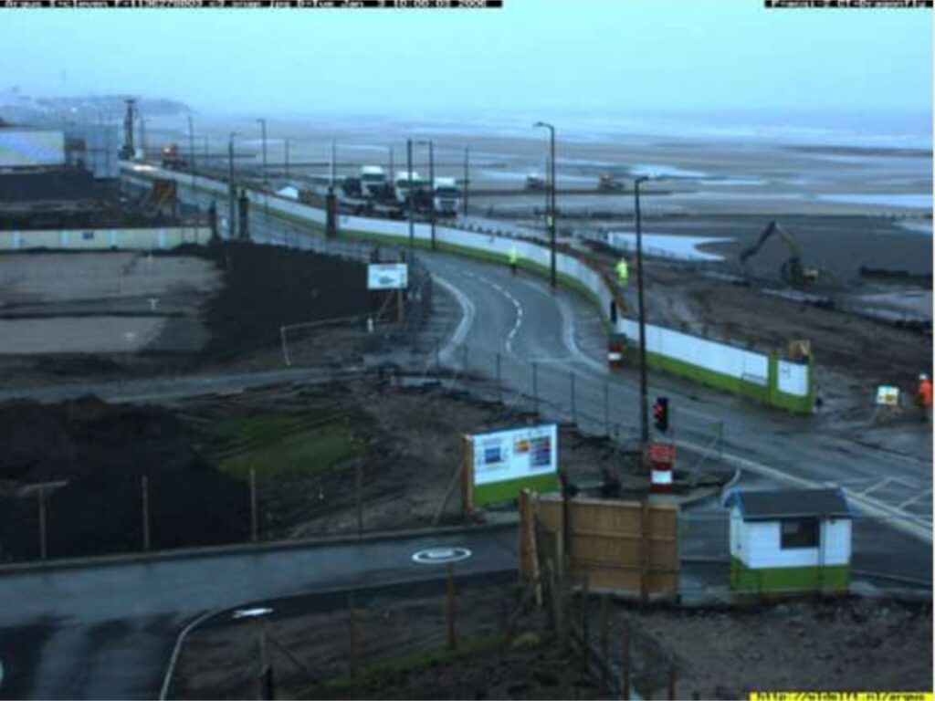 Argus camera image of Cleveleys sea wall build 2007, view from the roof of The Venue
