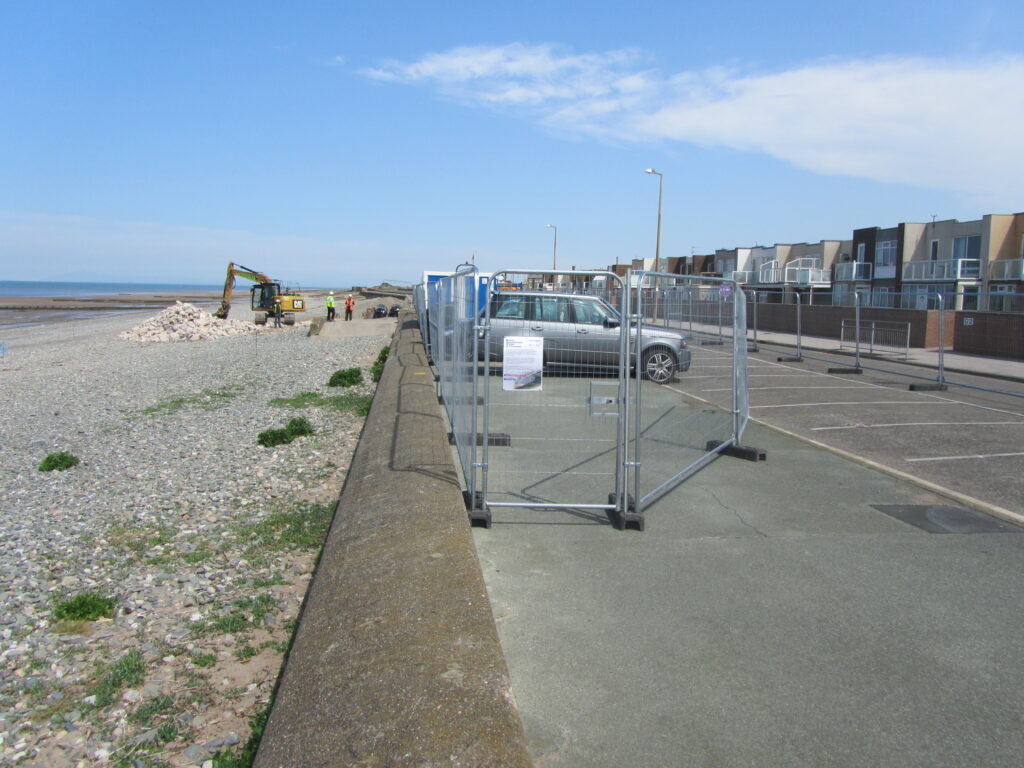Works compound for beach nourishment at Rossall Promenade
