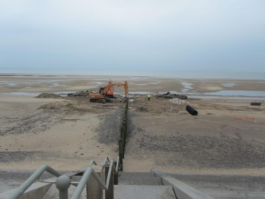 Extending a rock groyne at Cleveleys beach