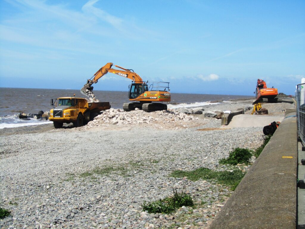 Loading the dumper for beach nourishment at Rossall Promenade