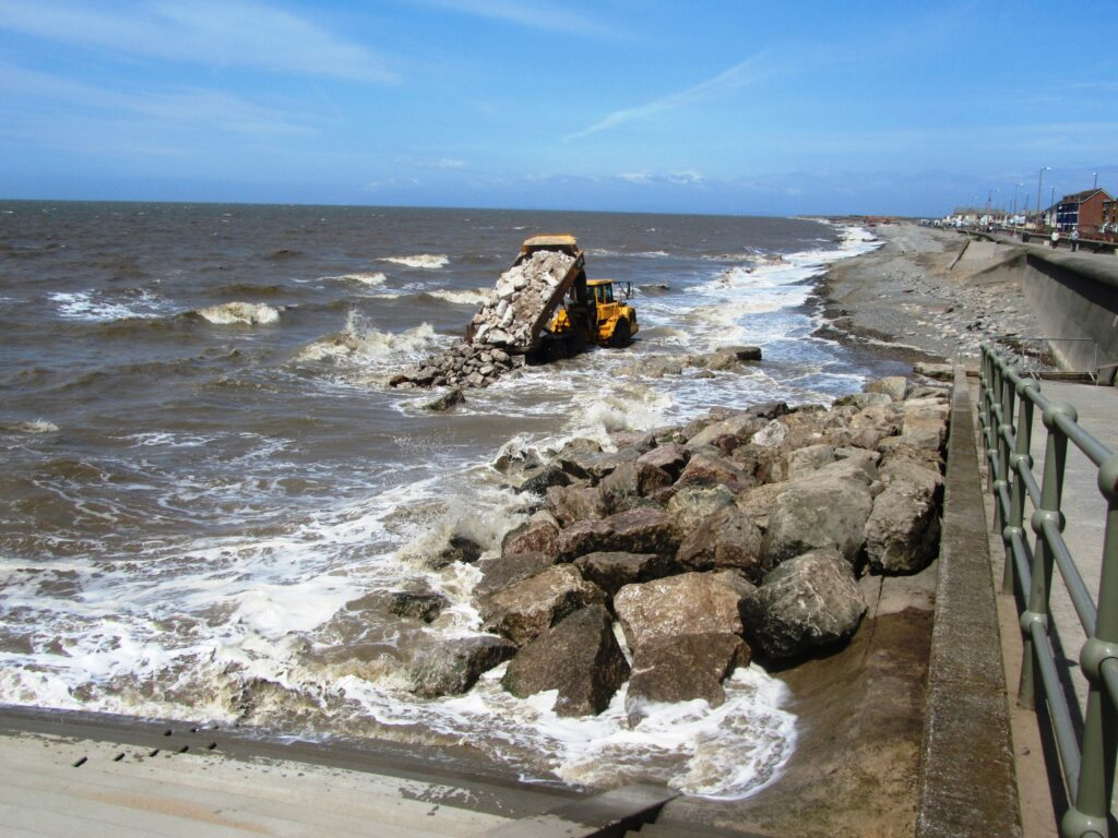 Moving rocks for beach nourishment at Rossall Promenade