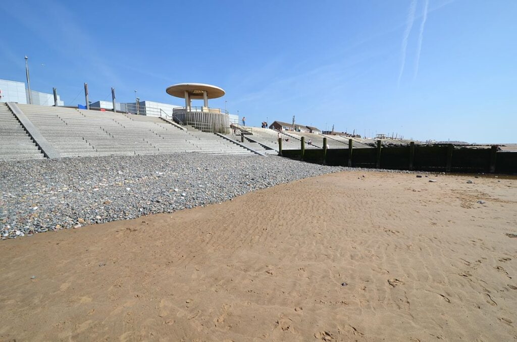 The sloping beach at Cleveleys, after beach nourishment works were completed, in July 2013