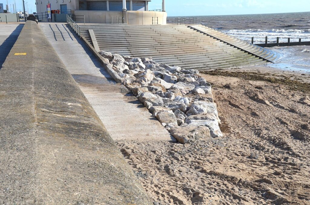 Beach access ramp finished, with rock armour protection. July 2013