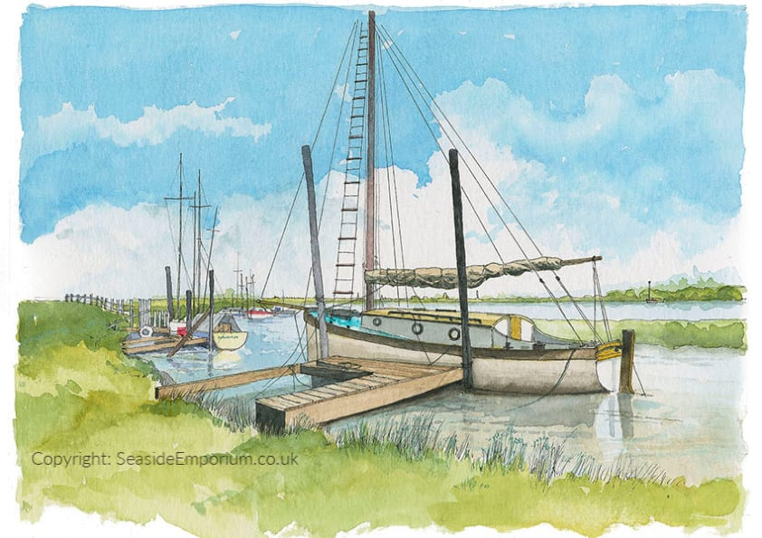 Watercolour painting of Boats Moored at Skippool by Seaside Emporium